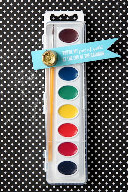 Non 'treat' gift idea.  This is meant for St. Patty's day, but I think watercolors would be a good bday party favor too!