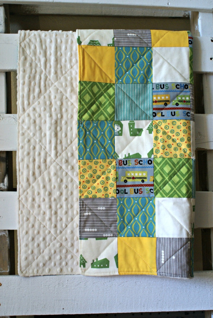 Patchwork Quilt in Green, Blue, Yellow, Grey, Ivory Minky Back Cot Playmat - $150.00 CDN