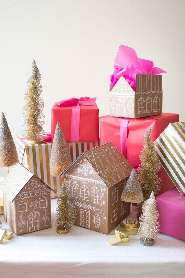 Le Frufrù: Gingerbread house gift box. Come creare un pacco regalo che sembra una casetta di pan di zenzero.
