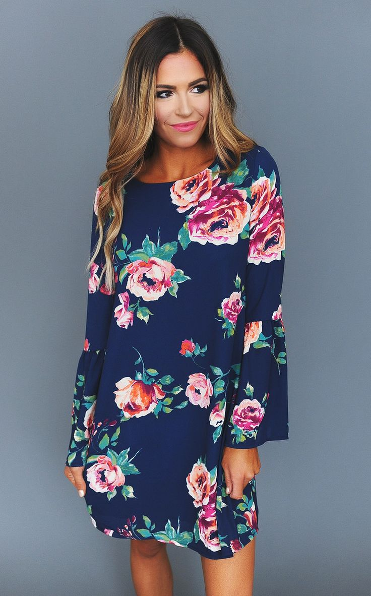 Navy Rose Print/Bell Sleeve Dress - Dottie Couture Boutique