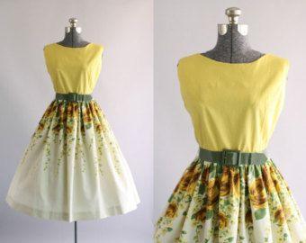 Vintage 1950s vestido / vestido de algodón por TuesdayRoseVintage