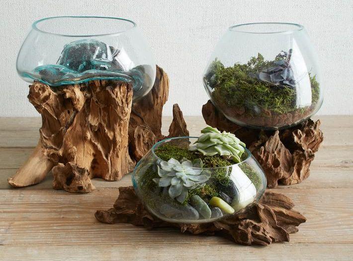 Mondgeblazen glas op hout | Alterdeco