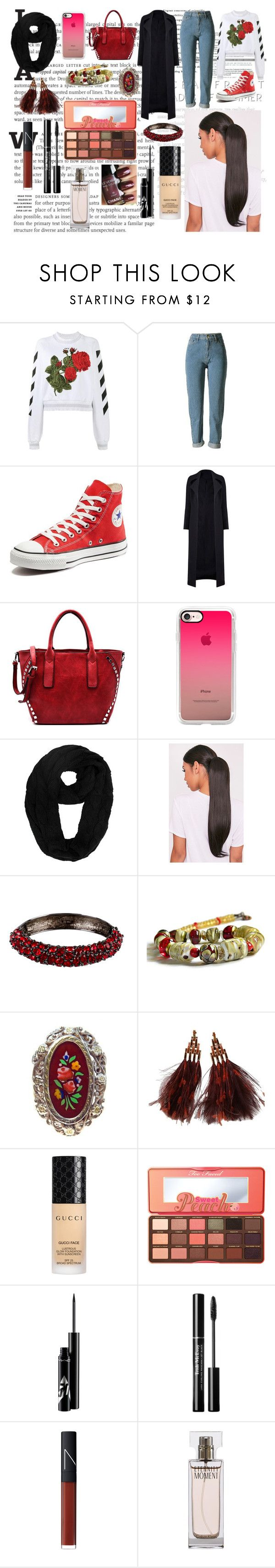 """""""Tears."""" by it-srabina ❤ liked on Polyvore featuring Off-White, Converse, Casetify, Kenneth Jay Lane, Louis Vuitton, Gucci, Too Faced Cosmetics, NARS Cosmetics, Burberry and Calvin Klein"""