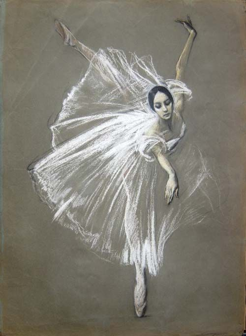 Valery Kosorukov  Natalia Bessmertnova as Giselle. Pastel on Paper.