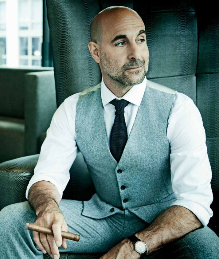 Stanley Tucci on the cover of Cigar Aficionado, September/October issue. Styling by Sam Spector. Photo by Jim Wright. | Elegant gentleman.