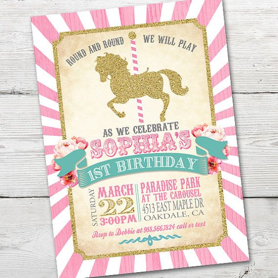 Carousel Birthday Invitation, PRINTABLE Carousel First Birthday, Carousel…