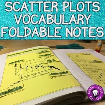 Scatter Plots Vocabulary Foldable Notes is an interactive notebook experience. Instead of writing definitions students will label a visual set of notes.