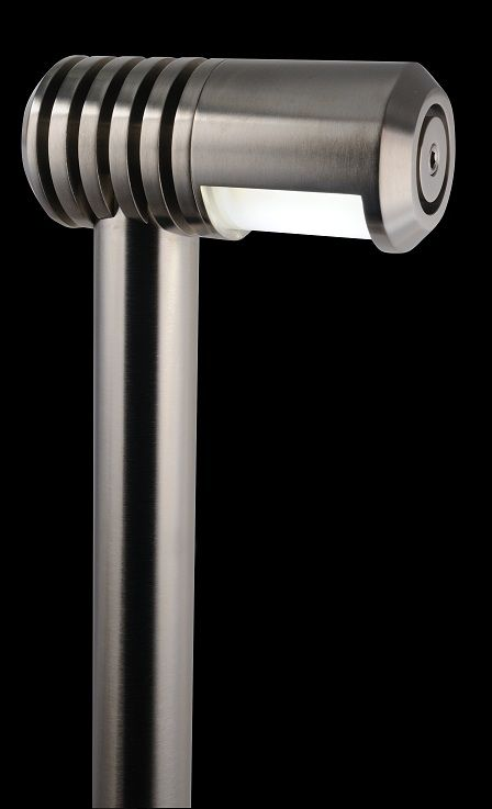 The Maglio. Solid brass path or wall washing light with rotating shield for beam control. Shown here in optional PVD Nickel finish.