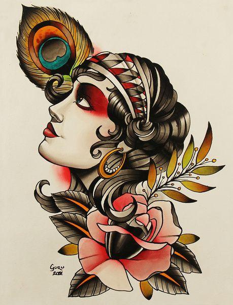 Gipsy girl - tattoo Framed Art Print   Tattoo flash