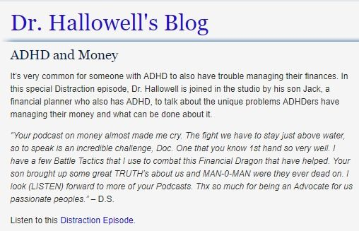 ADHD and Money - Short podcast with Dr Hallowell and his financial adviser son