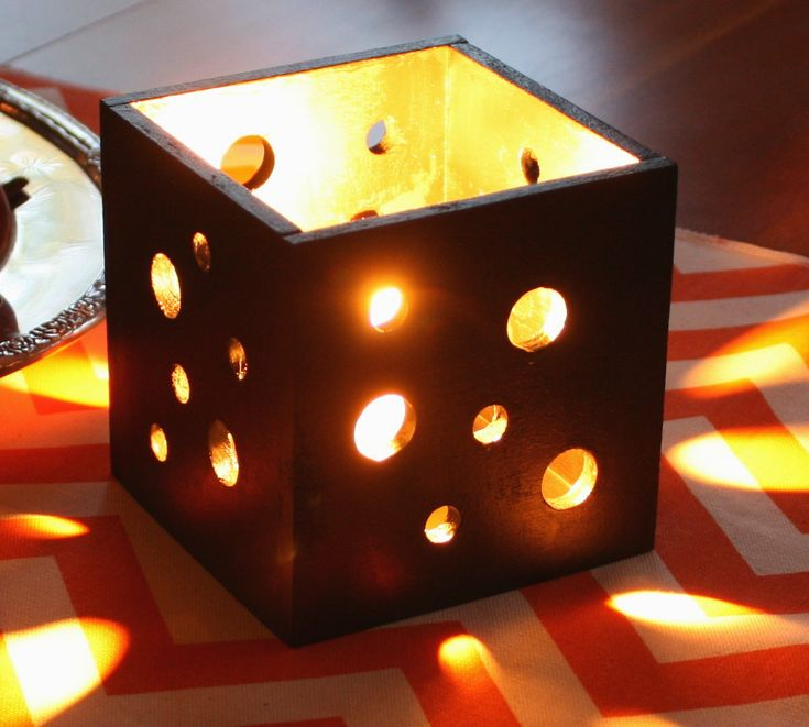 Pierced Wood Candle Holder - This one is Halloween themed but with different paint colors, it's perfect for decor in any season.