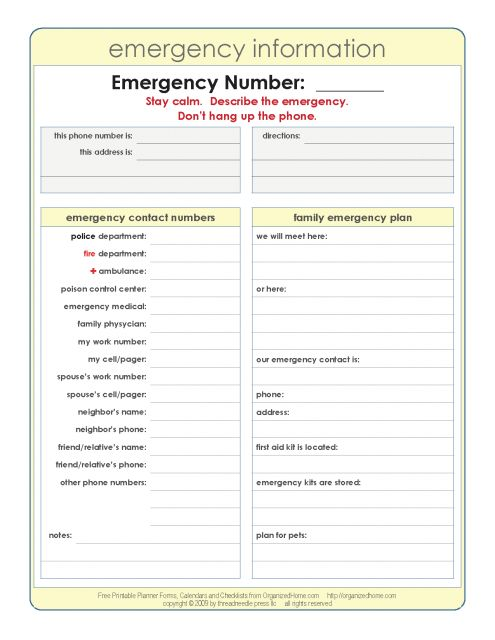 12 best Nanny images on Pinterest Free printable, Nanny binder - emergency contact forms