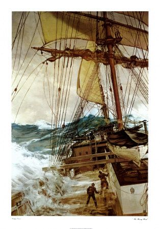 """Montague Dawson RMSA, FRSA (1895–1973) was a British painter who was renowned as a maritime artist. ~ """"Rising Wind"""""""