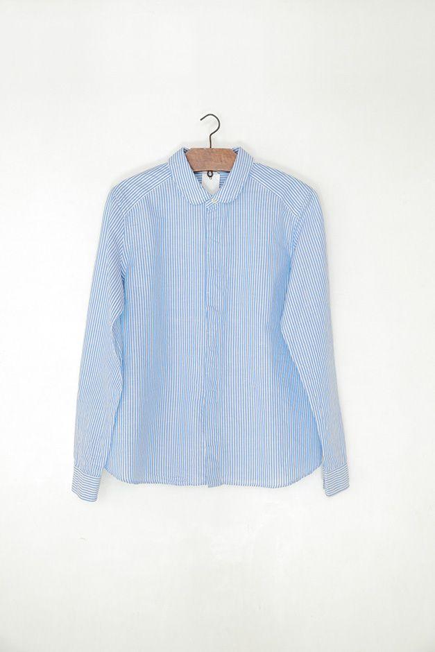 maillot ストライプガールズシャツ ブルー×ホワイト:くらすこと