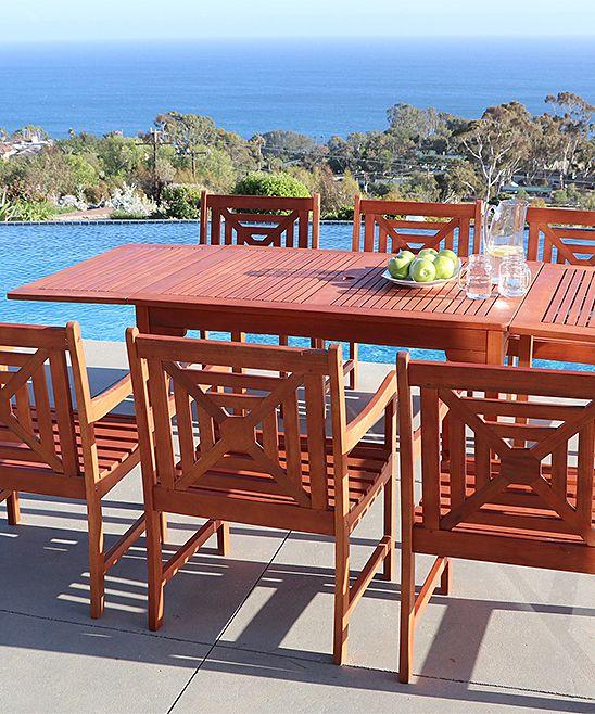 Seven-Piece Malibu Outdoor Hardwood Extension Dining Table Set