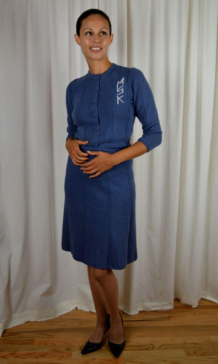 Vintage Sweater Dress, Blue Grey, Vintage Dress, 40's Dress, Casual Dress…