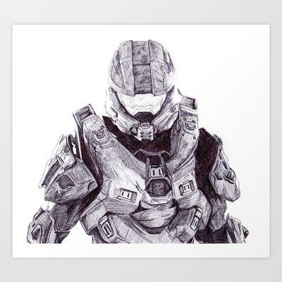 Master Chief Art Print by DeMoose_Art - $20.00