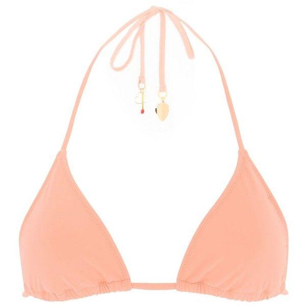 Stella Mccartney Faded Coral Triangle Bikini Top ($81) ❤ liked on Polyvore featuring swimwear, bikinis, bikini tops, coral, tankini tops, swim tops, triangle swim top, coral bikini and swimsuit tops