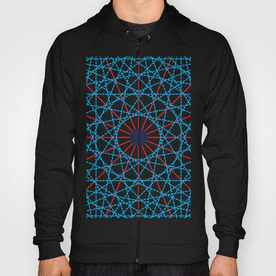 Geometric Circle Blue/Red Hoodie by Fimbis   ________________________ American Apparel Zip-up Hoodies and Pullover Hoodies come in a variety of colors and sizes.  Complete with kangaroo pocket this stretchy, comfortable fit, unisex cut includes double-stitched cuffs and hem.