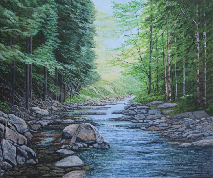 """Sunlight on Kagawong River""  Original Acrylic by Linda Mullola  18 x 24  www.lindamullola.com"