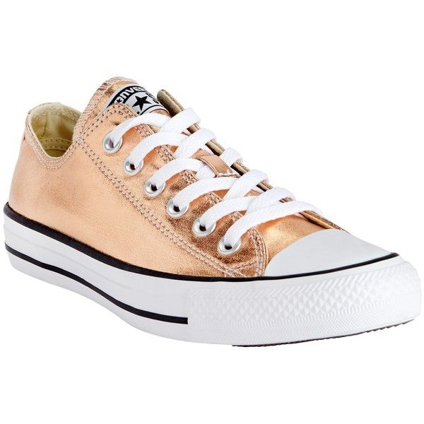 Converse Chuck Taylor All Star Ox Canvas Trainers (205 BRL) ❤ liked on Polyvore featuring shoes, sneakers, gold, star shoes, flat footwear, low shoes, canvas sneakers and star sneakers