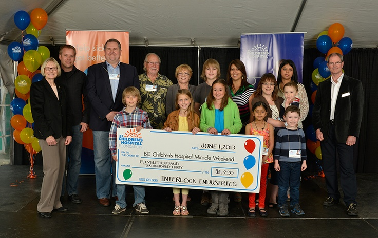 2013 - Interlock Industries (BC) Ltd. presents a check to the BC Children's Hospital Foundation (Building for Kids)