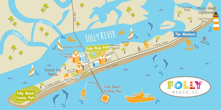 Want to Win a Trip to Folly Beach? Click to learn how.  Win a Trip to Folly Beach                Map of Folly Beach    Click on the orange areas below for more information.