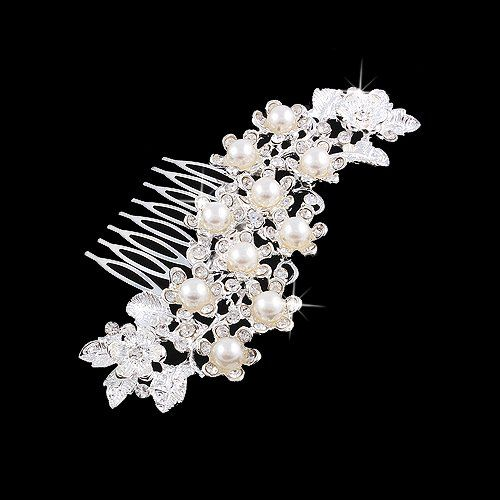 ACCESSORIESFOREVER Women Bridal Wedding Jewelry Crystal Rhinestone Pearl Floral Vintage Hair Comb Pin *** Want to know more, click on the image.(This is an Amazon affiliate link)