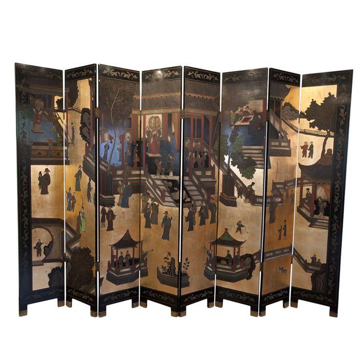 Eight panel Chinese coromandel screen