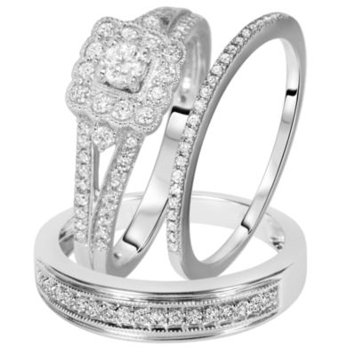 his and hers wedding bands three piece sets | CT. T.W. Diamond His And Hers Wedding Band Set 14K White Gold