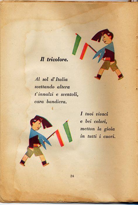 1930 - Libro della seconda classe - Il tricolore/  Book of the second class - The flag