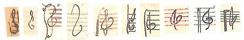 """transhumanisticpanspermia:  rachellebutler:  Treble clefs by (L to R) Bach, Haydn, Mozart, Beethoven, Schubert, Mendelssohn, Schumann, Brahms, Debussy, and Ravel. Source  all musicians across all time periods: """"fuck how does that thing go"""""""