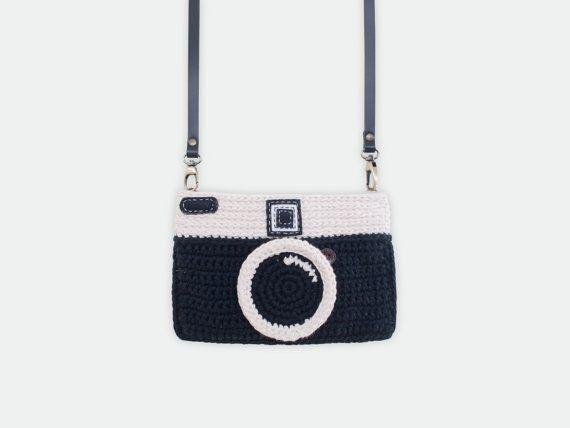 Uncinetto borsa macchina fotografica d'epoca (colore nero)