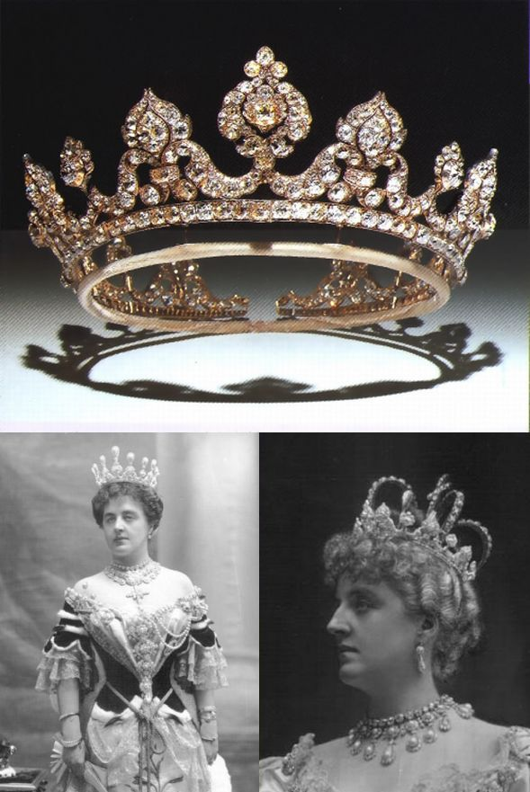 The Londonderry Tiara (top) worn by Theresa. A much revised version of the tiara worn by the Marchioness of Londonderry to the Devonshire House Ball of 1897. Also worn at the coronation of Edward VII in 1902. On that occasion she accidentally dropped into the toliet. It was retrieved with great difficulty. Previous versions had a pearl set in each element instead of diamonds.