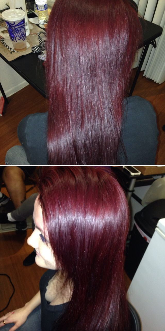 Used Paul Mitchell color 5R and red ink.