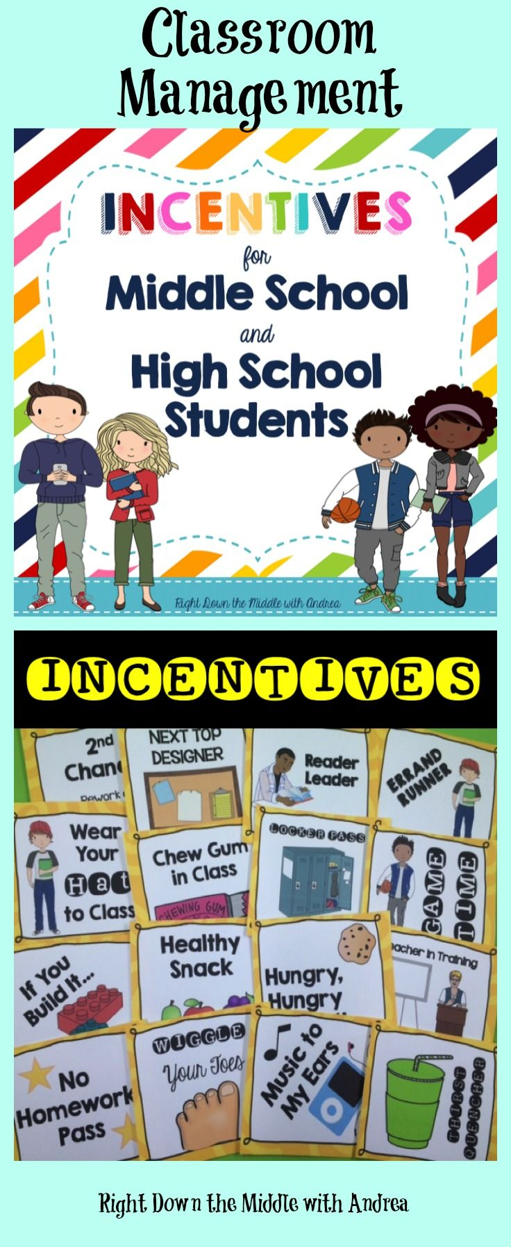Reward Coupons and Incentives for Middle School and High School Students is an excellent classroom and behavior management system to use in any classroom. Students love the incentives, and it is easy to implement.  Right Down the Middle with Andrea