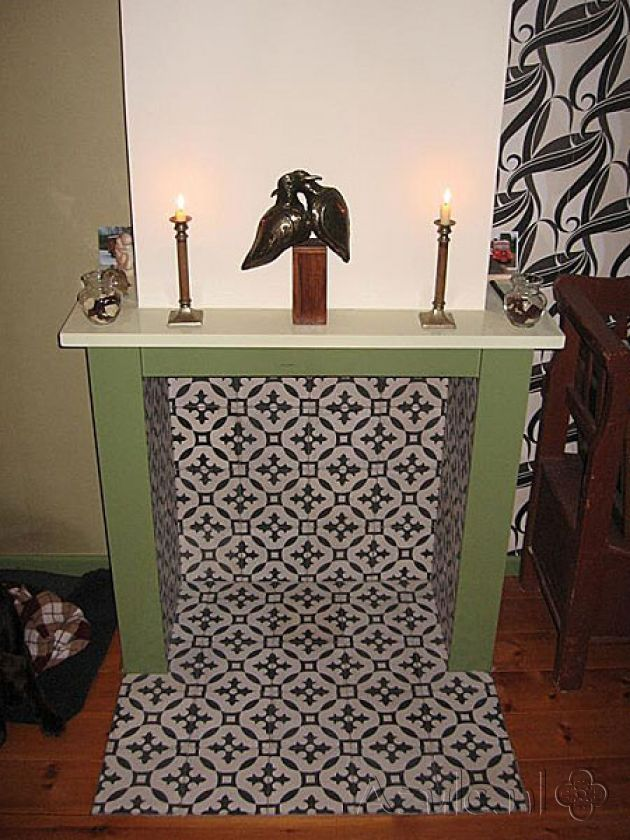 Cement tiles Living Room - Negra 04 - Project van Designtegels.nl