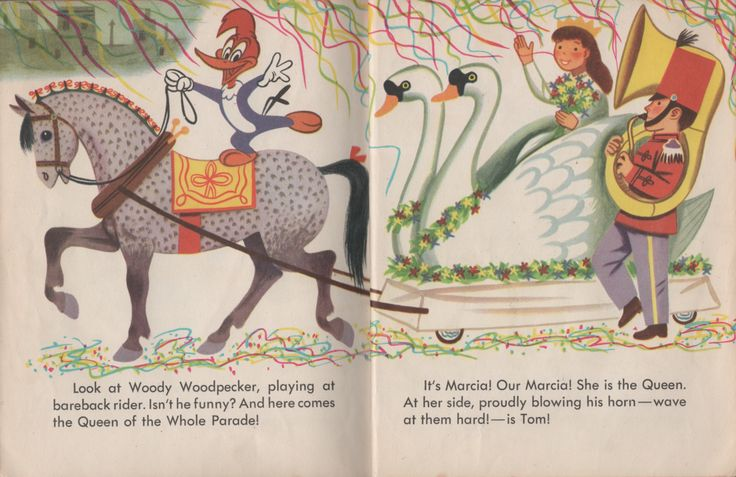 Richard Scarry's artwork from the 1951 Golden Book Here Comes the Parade  (#143) featuring Woody Woodpecker on bareback and the parade's Queen Marcia and Tommy on tuba