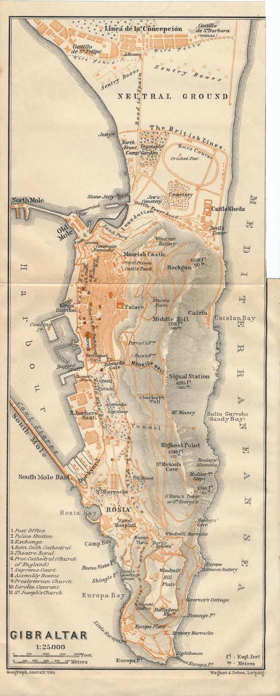 1911 Antique Map of Gibraltar by Figure10 on Etsy