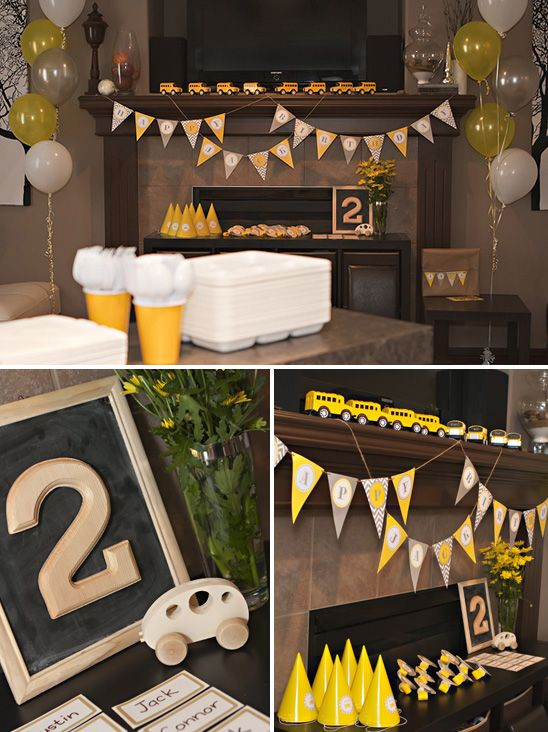 Gray and Yellow School Bus Party Banner