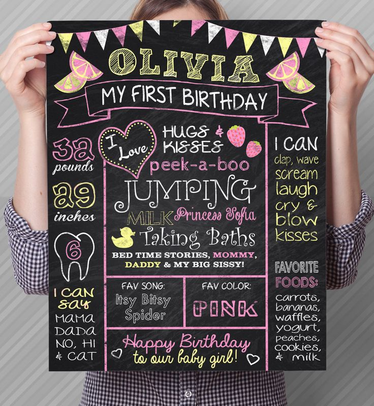 Birthday Party Signs, First Birthday Poster, Birthday Poster, Lemonade Birthday Poster, Chalkboard lemonade Sign, Pink Lemonade, 1st Birthday Poster, Pink Chalkboard Sign, Milestone Sign by #WolcottDesigns on Etsy   16x20