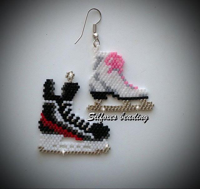 Sul ghiaccio: pattinaggio classico vs hockey #silfoxes #silfoxesbeading #beading #brickstitch