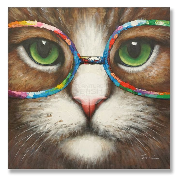 Cat with Glasses Oil Canvas 90cm x 90cm