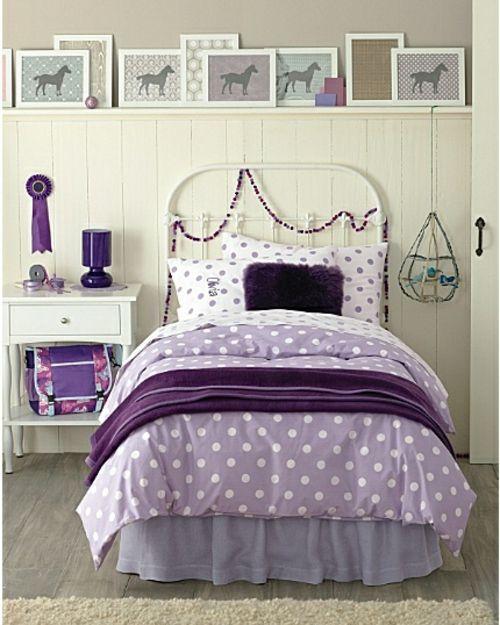 mdchen lila zimmer dekoration tieren wand punkten bettdecke - Schlafzimmer Lila Wand