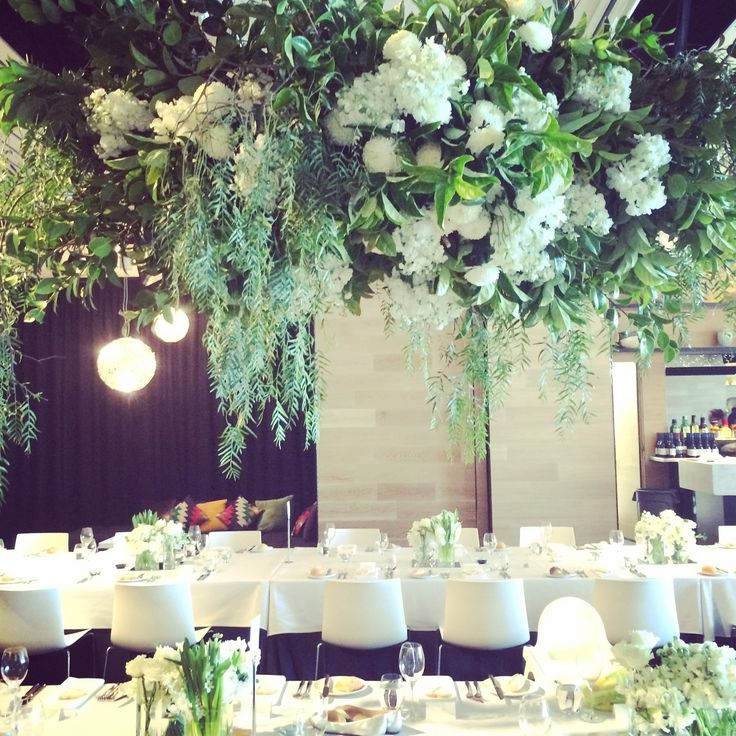 Floral hanging installation #greenery #florals #white #hanging #centrepieces