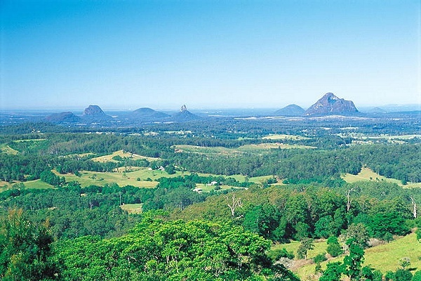 Glass House Mountains seen from Mary Cairncross Park