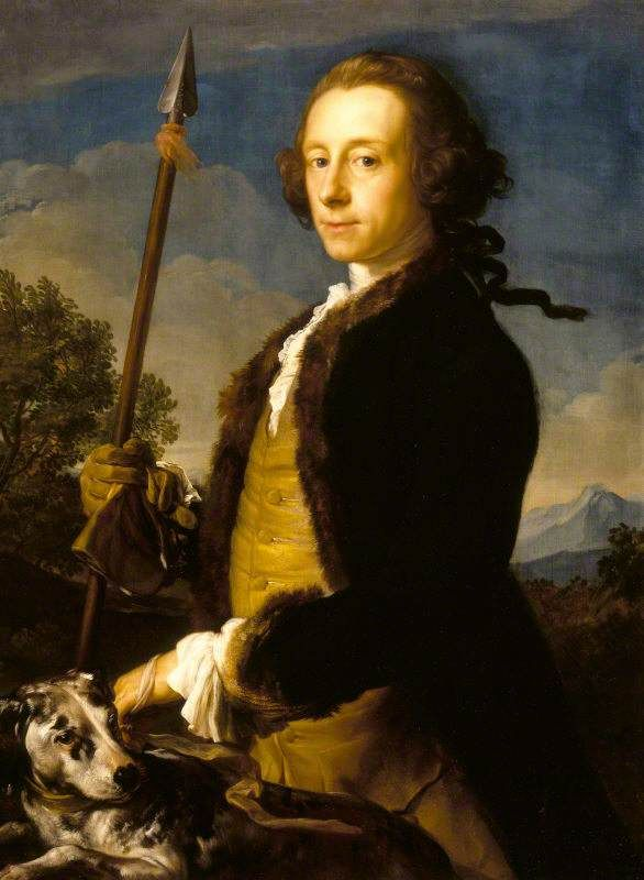 A hunting we will go! Sir Matthew Fetherstonhaugh (pronounced Fanshaw) (1714–1774), 1st Bt, MP, as a Hunter with a Wild Boar Spear, 1751, by Pompeo Batoni