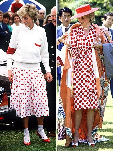 Diana embraced a major '80s trend in a big way in 1986, turning up in bold polka dots (including her socks!) at events in England and on tour of Japan. She paid tribute to her Japanese hosts with her dress representing their flag, the rising sun.