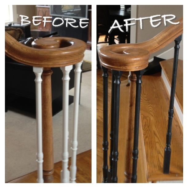 """Paint White """"dated"""" Spindles Black And Add Martha Stewart"""
