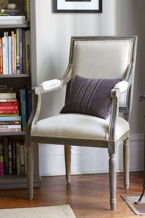 A chair inspired by Restoration Hardware and finished in Chalk Paint® decorative paint by Annie Sloan in various colors such as Graphite, French Linen, Paris Grey and Coco | By Urban Comfort http://urbancomfort.typepad.com/urban_nest/2013/04/quick-aging-with-annie-sloan-chalk-paint.html